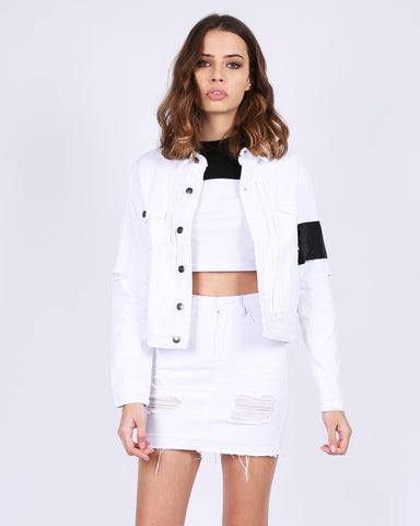 WOMEN'S WHITE TRASH DENIM JACKET -WHITE/BLACK