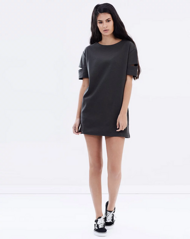 CUT OUT TEE DRESS - OLIVE