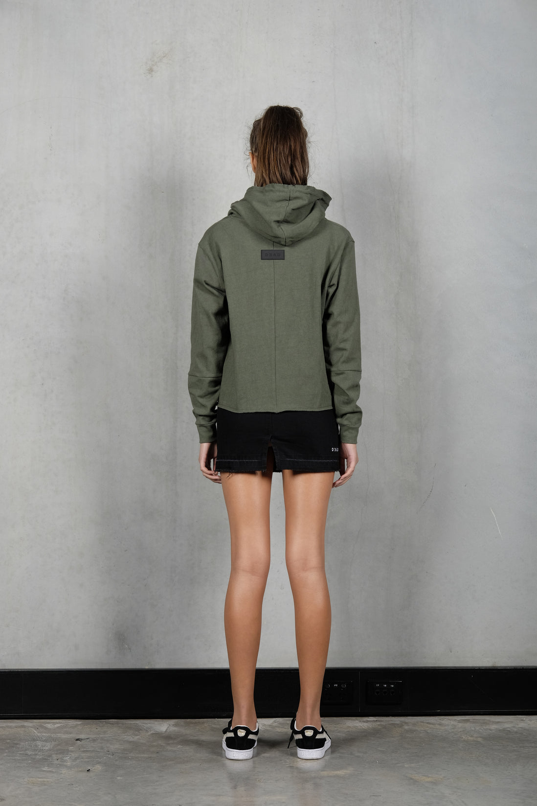 RAW CROP DESTROY HOOD - OLIVE