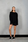 RAW LONG SWEATER - BLACK