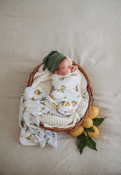 Lemon Jersey Wrap & Beanie Set