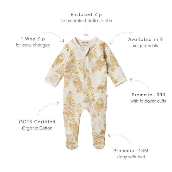 Organic Zipsuit with Feet - Owlly