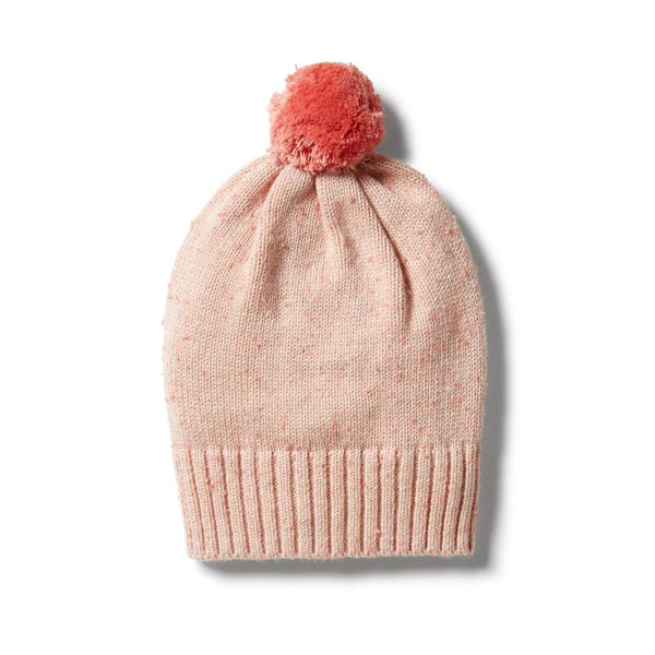 Knitted Spot Hat - Flamingo Oatmeal Fleck