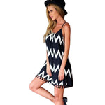 Women Summer Dress  Sexy Beach Dress Vestidos Casual Geometric Printed Tassel Spaghetti Strap Women Mini Dresses