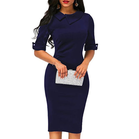 New ladies lapel straight dress autumn short-sleeved knee-length dress dark blue red party dress vestidos