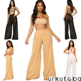 Women Wide Leg Pants Beach Mesh Sheer Summer 2019 Streetwear High Waist Pants Elastic Casual Drawstring Long Trousers Cover Up