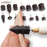 DIY Leather Grinding Tools Mini Portable Drill Versatile Polishing Machine Bits Tools Kit Purple Sandalwood Grinding Head Suit