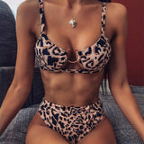 Sexy Snake Print Swimsuit Women High Waist Bikini Leopard Micro High Leg Push Up Bathing Suit Swimwear Women 2020 Bikinis Set