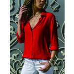 Spring Autumn 2020 Casual Blouse Long Sleeve Elegant Women Tops Single Row Button Women Clothes Streetwear Women Black Red Shirt