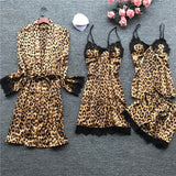 Sexy Lace Leopard Satin Pajamas Sets Women Sleepwear Spaghetti Strap Silk Home Wear Pijama Sleep Lounge Pyjama Nightwear