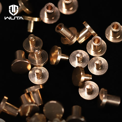 WUTA High Quality 20set/50set Solid Brass Flat Head Rivet Double-sided Belt Nails Leathercraft Hardware Install Only With Hammer