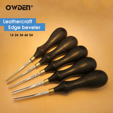 OWDEN Professional Leather Edge Beveler Skiving Cut Tool  Alloy Steel Blade Sandalwood Handle DIY Sharp Edger Trimming Tool