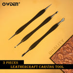 OWDEN 3Pcs Leathercraft Modeling Carving Tools Kit Stainless Steel Point Stylus Spoon Balls Embossing Carving Blade Press Tools