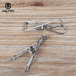 WUTA 4 pcs Hot Stainless Steel Metal Spring Clips for Leather craft Tools Silver Ticket Clip Clothes Hanging Pegs Clips Clamps