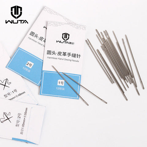 WUTA 12pcs Leathercraft Sewing Needles Large Eye Blunt Stitching Needle Harness Round-pointed Needle Leather Hand Sewing Blunt