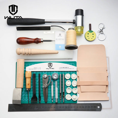 WUTA Functionary Durable Basic Leathercraft Tool Set DIY Hand Sewing Stitching Punching Cutting Tool Kit Leather Work Sewing Set
