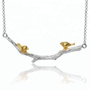 Gold Bird on Branch Sterling Silver Necklace