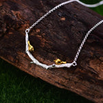 Gold Necklace Bird on Branch 925 Sterling Silver