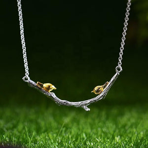 Necklace Gold Bird on Branch 925 Sterling Silver