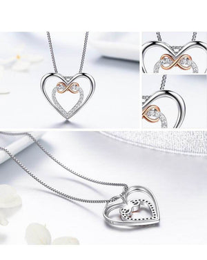 Double Heart Pendant Necklace Sterling Silver