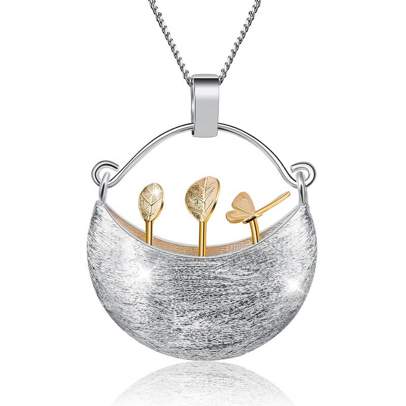 Flowers in Basket Sterling Silver Necklace