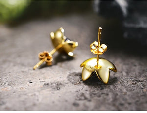 Fresh Flower 925 Gold Earrings