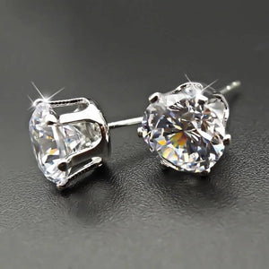 Round Cut 4.0 Ct Sterling Silver Ring + Free Round Classic Sterling Silver Earrings