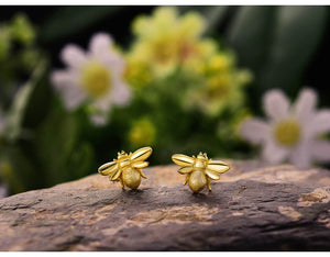 Bee Earrings Gold Plated