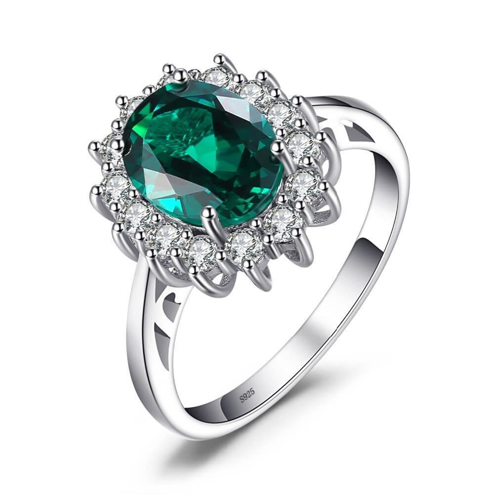 Oval Emerald Silver Ring