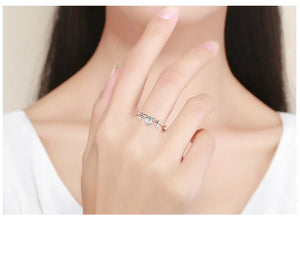 Heart Clear Silver Ring
