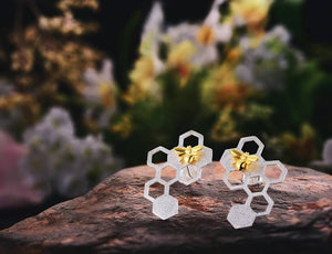 Honeycomb Silver Earrings