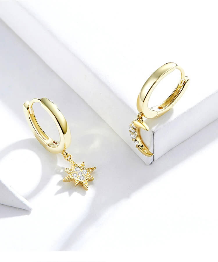 Moon and Star Sterling Silver Gold Earrings