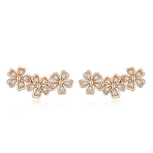 Flower CZ Rose Gold Stud Earrings