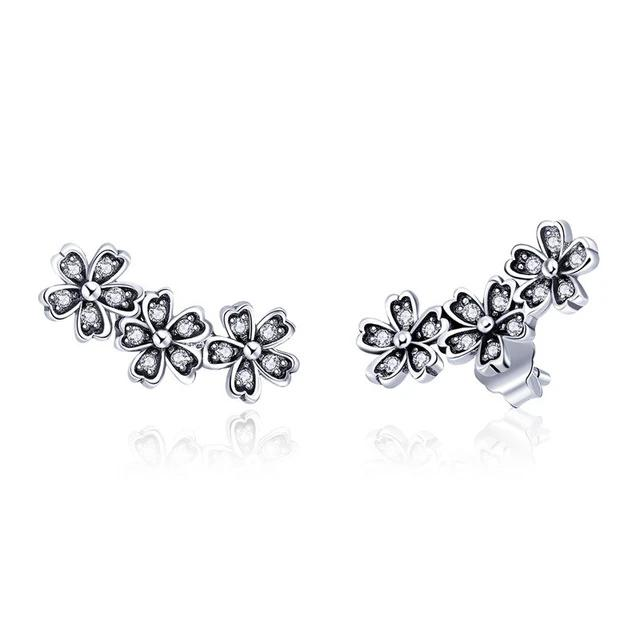 Flower CZ Silver Stud Earrings