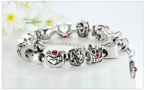 Silver Bracelet Heart Crown