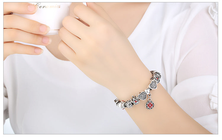 Woman's Bracelet Silver Heart Crown