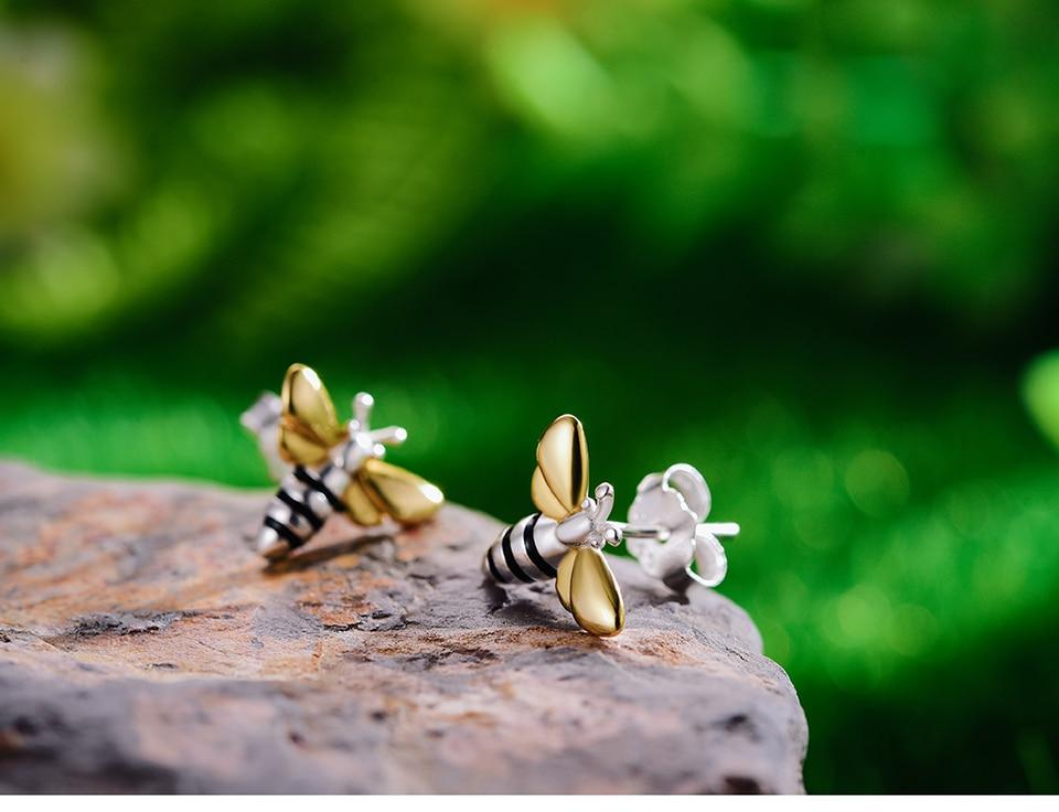 Honey Bee 925 Silver Earrings