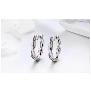 Twist 925 Sterling Silver Pink Hoop Earrings