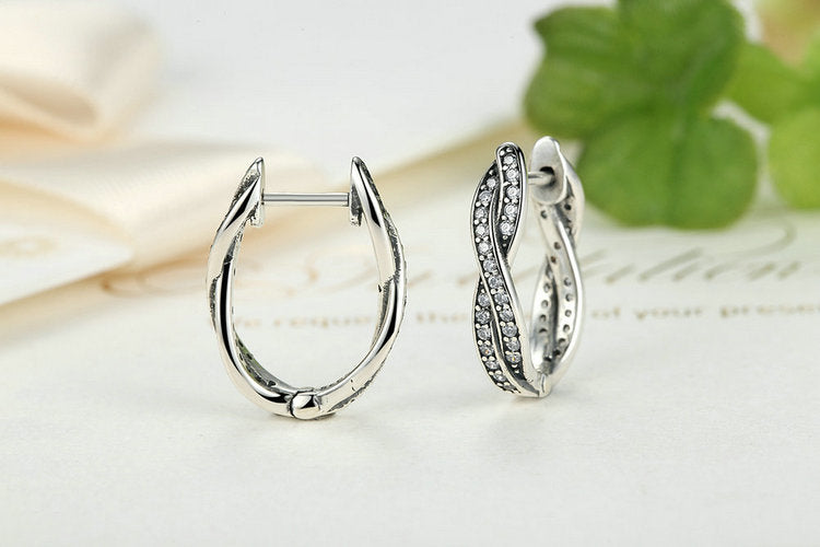 Twist 925 Sterling Silver Hoop Earrings