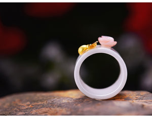 Gold Bee Flower Ring