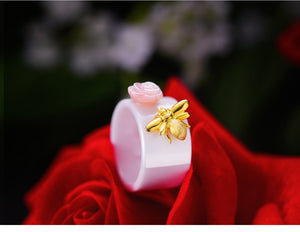 Gold Bee Flower Ceramic Ring