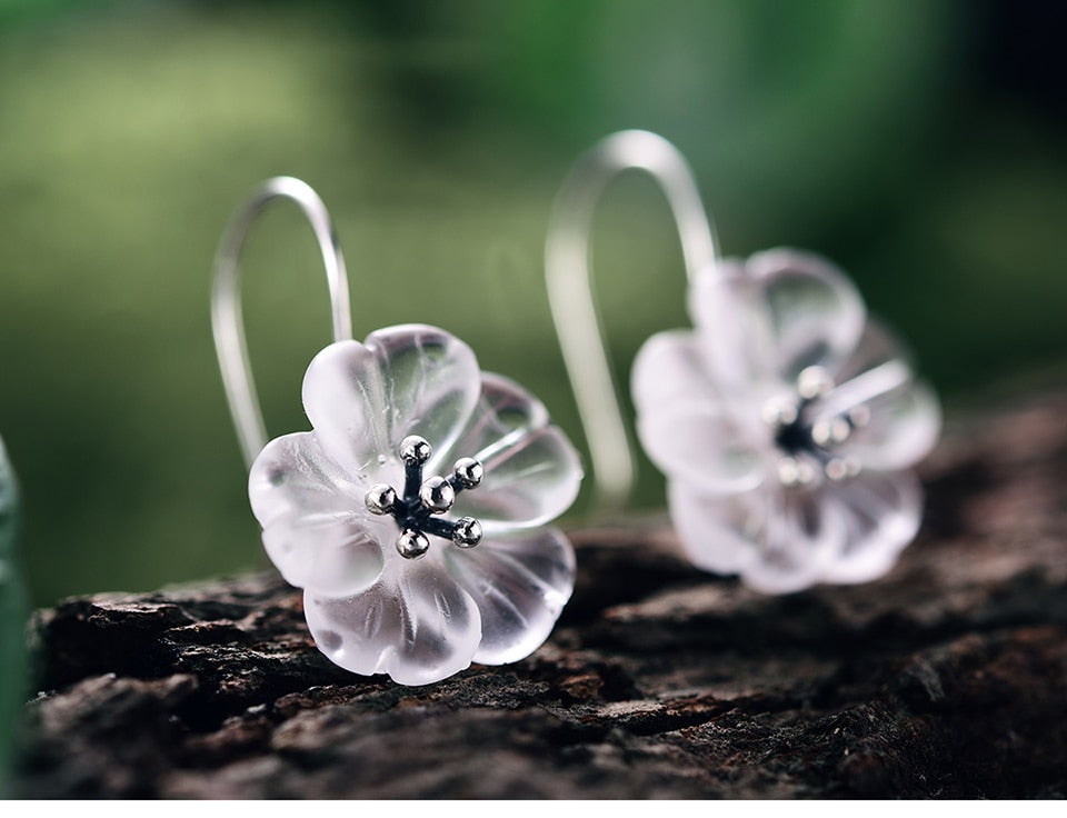 Crystal Flower Silver Earrings