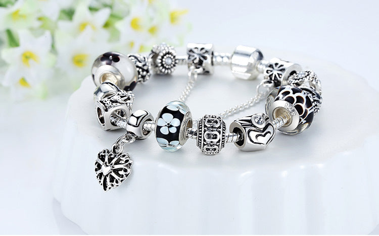 Silver Bracelet Queen Crown Black