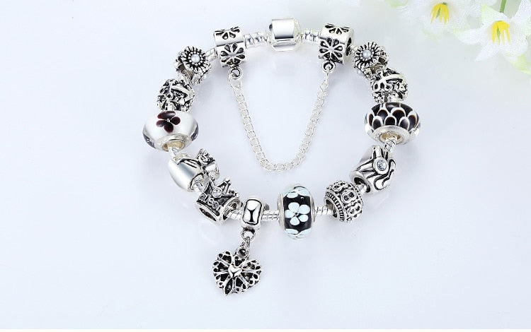 Silver Bracelet Queen Crown Black Beads