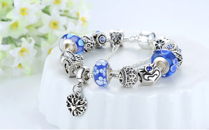Silver Bracelet Queen Crown Blue Beads