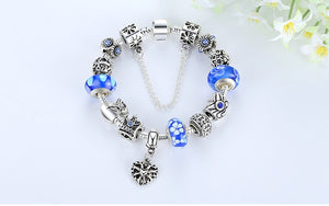 Silver Bracelet Queen Crown Blue Beads Charms