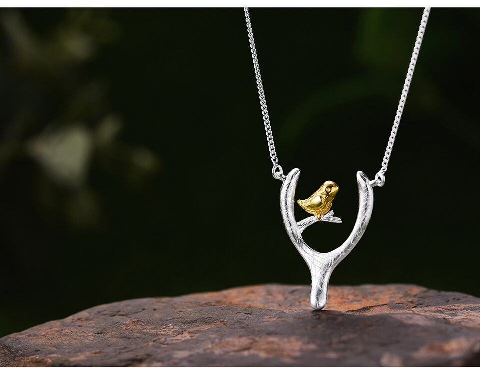 Bird on Wish Bone Sterling Silver Pendant Necklace