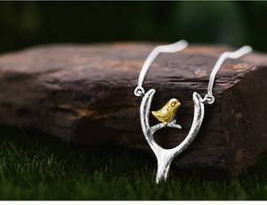 Sterling Silver  Pendant Necklace Bird on Wish Bone