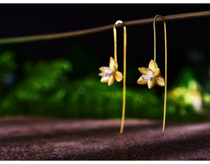 Orchids Gold Earrings
