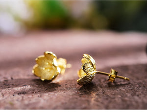 Gold Flower 925 Stud Earrings